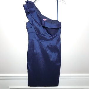 NWT Eliza J Ruffled One Shoulder Navy Blue Dress
